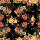 Watercolor bouquet flowers and shade on a black background. Floral seamless pattern. Bouquet handmade  background pattern seamless watercolor color floral Stock Photos