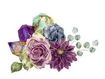 Watercolor bouquet of flowers, succulents, eucalyptus and gem stones. Hand drawn composition isolated on white. Background. Minerals and plants design royalty free illustration