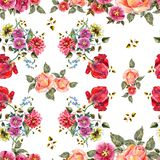 Watercolor bouquet flowers on a white background. Floral seamless pattern. Bouquet handmade  background pattern seamless watercolor color floral original Stock Photos