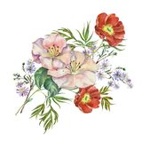 Watercolor bouquet flowers  on a white background. Watercolor image white background bouquet flowers peony  handmade  pattern Royalty Free Stock Image