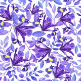 Watercolor bouquet of irises, hand drawn floral illustration, blue flowers and leaves on white background stock illustration