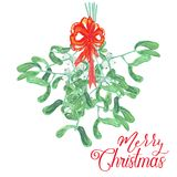 Watercolor bouquet of mistletoe with red ribbon Royalty Free Stock Photography