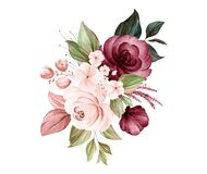Free Watercolor Bouquet Of Soft Brown And Burgundy Roses And Leaves. Botanic Decoration Illustration For Wedding Card, Fabric, And Logo Royalty Free Stock Photography - 188998277