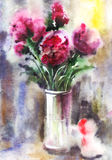 Watercolor bouquet of peonies Royalty Free Stock Images
