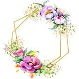 Watercolor bouquet pink peony flowes. Floral botanical flower. Frame border ornament square. stock illustration