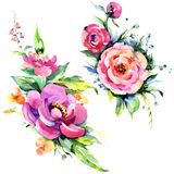 Watercolor bouquet pink peony flowes. Floral botanical flower. Isolated illustration element. stock illustration