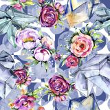 Watercolor bouquet pink peony flowes. Floral botanical flower.Seamless background pattern. royalty free illustration