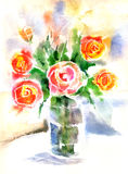 Watercolor bouquet of red roses Stock Image