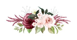Watercolor bouquet of soft brown and burgundy roses and leaves. Botanic decoration illustration for wedding card, fabric, and logo