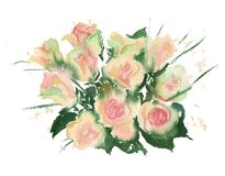 watercolor bouquet of yellow roses1 Stock Photography