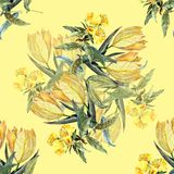 Watercolor bouquet yellow tulips on a yellow background. Watercolor image yellow background bouquet flowers  handmade  seamless pattern Stock Photos