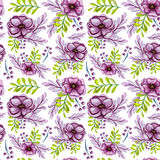 Watercolor Bouquets With Anemone Flowers And Green Leaves Seamless Pattern Stock Photo