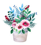 Watercolor bouquets of flowers in pot. Rustic Royalty Free Stock Photography