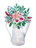 Watercolor bouquets of flowers in pot. Rustic Stock Photos