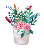 Watercolor bouquets of flowers in pot. Rustic Stock Image