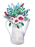 Watercolor bouquets of flowers in pot. Rustic Royalty Free Stock Image