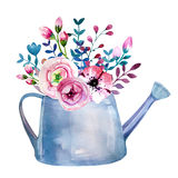 Watercolor bouquets of flowers in pot. Rustic Royalty Free Stock Photo