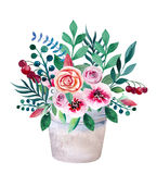 Watercolor bouquets of flowers in pot. Rustic Stock Images