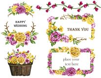 Watercolor bouquets of flowers Yellow and Pink wreath frame set royalty free illustration