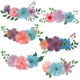 Watercolor bouquets. Set of watercolor illustrations on white background royalty free illustration