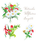 Watercolor bouquets summer vector design set Royalty Free Stock Photo