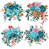 Watercolor Bouquets with teal flowers isolated on white background. Watercolor Bouquets with teal flowers,peonies and brunches isolated on white background royalty free illustration