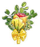 Watercolor boutonniere with yellow-red rose, waxflower,  twigs o. F eucalyptus and silk bow isolated on white Stock Photo