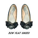 Watercolor bow flat shoes painting. Stock Photography
