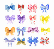 Watercolor bow set. Royalty Free Stock Photos