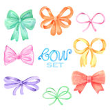 Watercolor bow set. Watercolor hand painted bow set on white royalty free illustration