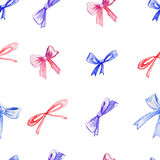 Watercolor bows, hand drawn ribbons isolated on white background, seamless pattern, decorative illustration decorative Stock Image