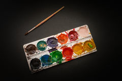 Watercolor in a box. stock images