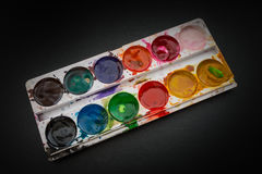 Watercolor in a box. stock photography