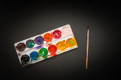 Watercolor in a box. Royalty Free Stock Photography