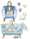 Watercolor boy and girl reading book, cat and three mugs stock illustration