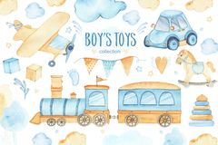 Free Watercolor Boys Toys Baby Shower Set With Car Airplane Train Garland And Trees Clouds Stock Images - 122316554