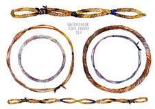 Watercolor braided rope frames set Royalty Free Stock Photography