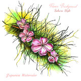 Watercolor branch with sakura flowers background Royalty Free Stock Image