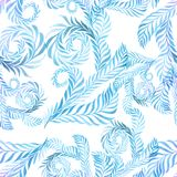 Watercolor. Branches with leaves - decorative composition. Seaml Stock Image