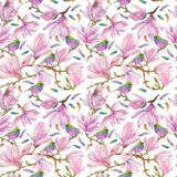 Watercolor branches of magnolia,seamless pattern Royalty Free Stock Images