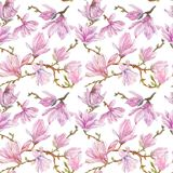 Watercolor branches of magnolia,seamless pattern Stock Photo