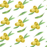 Watercolor branches of olives seamless pattern Stock Photos