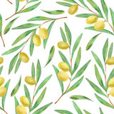 Watercolor branches of olives seamless pattern Stock Photo