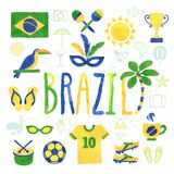 Watercolor Brazil icons Royalty Free Stock Images