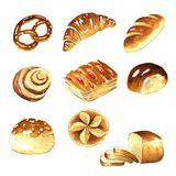 Watercolor, bread clipart. Watercolor, Graphics bread on a white background royalty free illustration