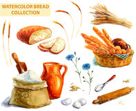 Watercolor bread collection Royalty Free Stock Images