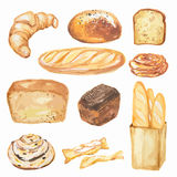 Watercolor bread set. Different kinds of bread as baguette, loaf, cake. Protein and whole grain nutrition royalty free illustration