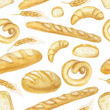 Watercolor Bread set. Hand drawn seamless pattern,background. Watercolor Bread seamless pattern.Different type of bread.Fresh organic pastries products, loaf royalty free illustration