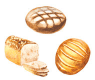 Watercolor bread set. Vector illustration stock illustration