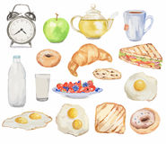 Watercolor breakfast set. Meals for morning as croissant, fried eggs, bacon, tea and more. Fresh and tasty snack Stock Image